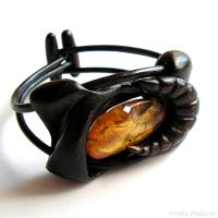 Hand carved wooden bracelet with natural amber 217 by AmberSculpture