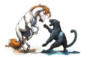 Cats vs. Horses by kenket