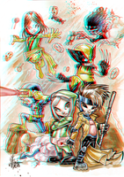 X-Babies in 3D Anaglyph by xmancyclops