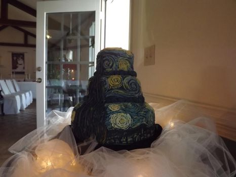 Starry Night Wedding Cake by Dragonwench