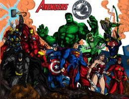 The Avengers and The Justice League by richrow