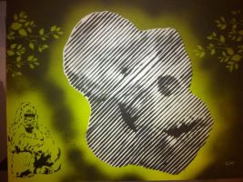 Gorilla skull halftone by Stencils-by-Chase