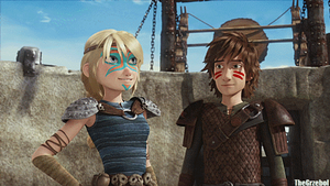 Hiccup and Astrid in Dragons - DOTDR [GIF] by Grzeboable