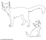 Adult Cat And Kitten Template Paint by RukiFox