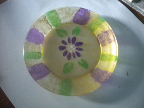 Reverse Painted Glass Plate by luna-paws