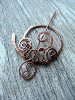 celtic copper shawl pin /  wire wrapped brooch by Lirimaer86