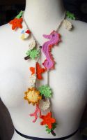 Crochet tropical necklace by meekssandygirl