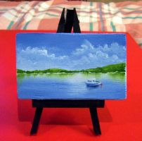 Boat In Water: a mini-painting by ronnietucker