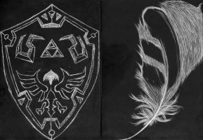 Feather and Shield on scratchboard by hyrelynk