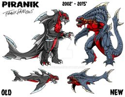 Piranik old vs new by kaijuverse
