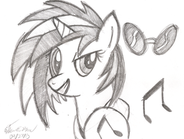Vinyl Scratch Concept Sketch by AncientOwl