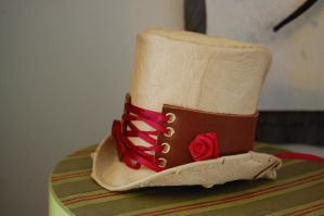 Rosy Leather Steampunk Tophat by OcularFracture