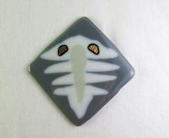Fused Glass Trilobite Tile in White and Gray by trilobiteglassworks