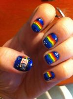Nyan Cat Nail Art by ineedacat9