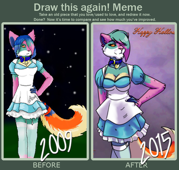 Draw This Again! Meme: Halloweens Past and Present by xCailinMurre