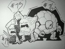 Geodude, Graveler, and Golem by jlewis413