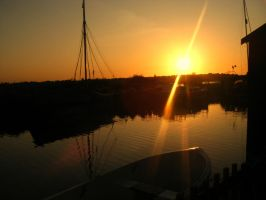 Sunset And Boats. by HaanaArt