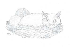 Cat in a basket of yarn by Pollinette