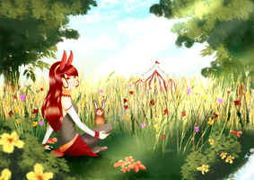 CdR: Bunnies Amongst Spring Flowers by Tishawish