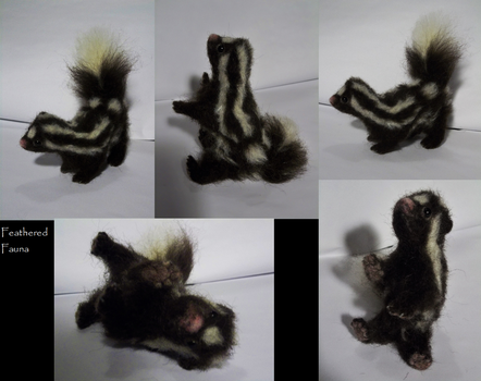 Needle Felted Baby Spotted Skunk by FeatheredFauna