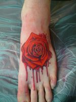 foot rose by tattooryan
