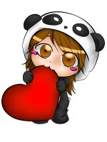Panda Heart Colored by Kireyanna