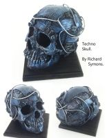 circuit board skull sculpture by richardsymonsart