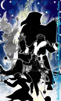 The Silhouettes of the Holiday Spirits and Scrooge by HalloDream