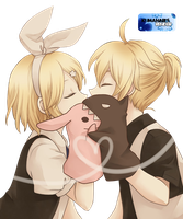 Len and rin Kagamine kiss render by Kumanari