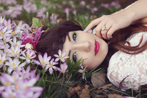 Semmy with crocuses by Estelle-Photographie