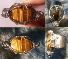 Hand~Made Stainless Steel Tiger's Eye Ring by BESTGEM4U