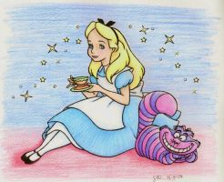 Chesire Cat with Alice by sahadlich90
