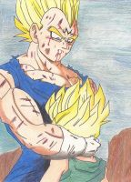 Vegeta hugging Trunks by Manthanaaa