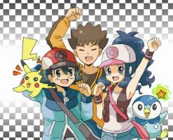 Ash and Dawn in Isshu by Satoshi-Master2
