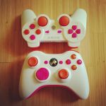 My twin customs - 360 and PS3 controllers by ExplodedSoda