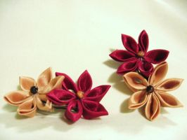 burgundy and gold hair clips by randomdream