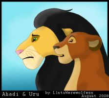 Ahadi and Uru by L1ntuWerewolfess