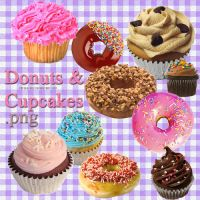 Donuts and Cupcakes PNG by camiluchiiz