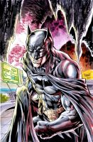 Batman inked and watercolor by gammaknight