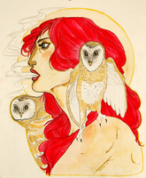 Girl and the barn owls by kiusa