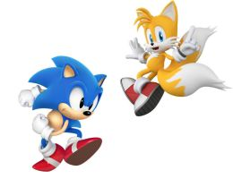Classic Sonic and Modern Tails by thesoniczone11