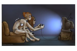 all night staring at the TV by Pokoa