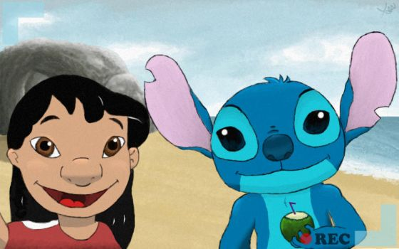 Lilo and Stitch on the beach by skyice