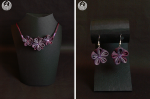 Raspberry - Necklace and Earrings Set by Arleen