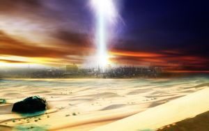 desert sky with lightning by dontbemad