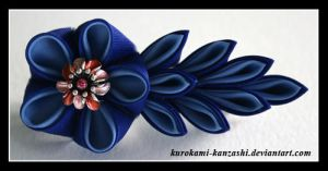 Two Blues Blossom by Kurokami-Kanzashi