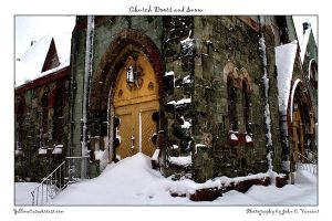 Church Doors and Snow by yellowcaseartist
