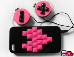 Neon pink Iphone case and headphones by Ketchupize