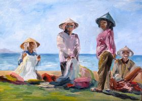 Brisk market on Bali beach by Alekra81