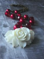 Red Christmas Flower Necklace by LKJSlain